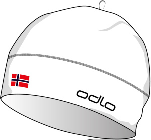 Hat POLYKNIT FAN white - NORWEGIAN flag